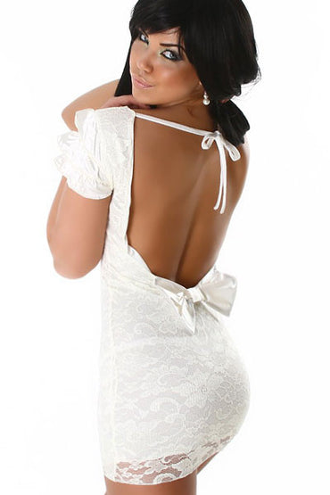 Elegant Evening Dress With Lace Satin White
