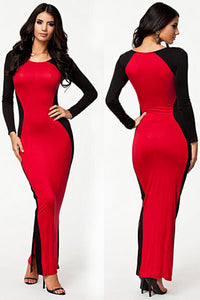 Elegant Party Two Faced Contrast Maxi Evening Dress