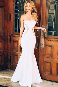 Elegant Strapless Mesh Highlight Party White Evening Dress