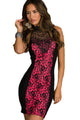 Embroidered Lacy Bodycon Dress Rosy