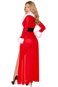 Envy Miss Claus Long Robe with G-string