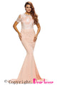 Eyelash Lace Embellished Champagne Sain Formal Gown