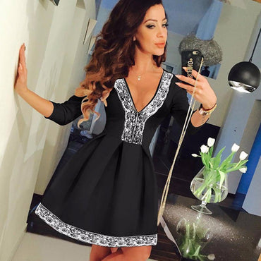 Sexy Women Long Sleeve Floral Short Dress Lace Skater Ladies High Waist Mini Dress