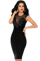 Fabulous Embroidered Mesh Bust Little Black Dress