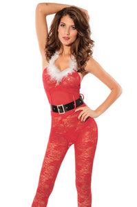Fiery Red Xmas Lace Catsuit