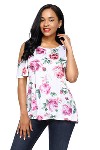 Flourish Print White Background Womens Top