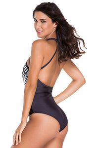 Geometric Diamond Monochrome Print Monokini