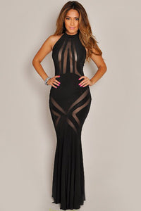 Glam Black Mesh Pattern Hourglass Evening Dress
