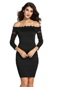 Glimmering Black Lace Off Shoulder Bodycon Dress