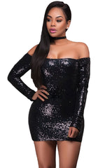 Glittering Black Long Sleeve Off Shoulder Club Dress