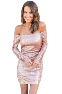 Glittering Pink Long Sleeve Off Shoulder Club Dress