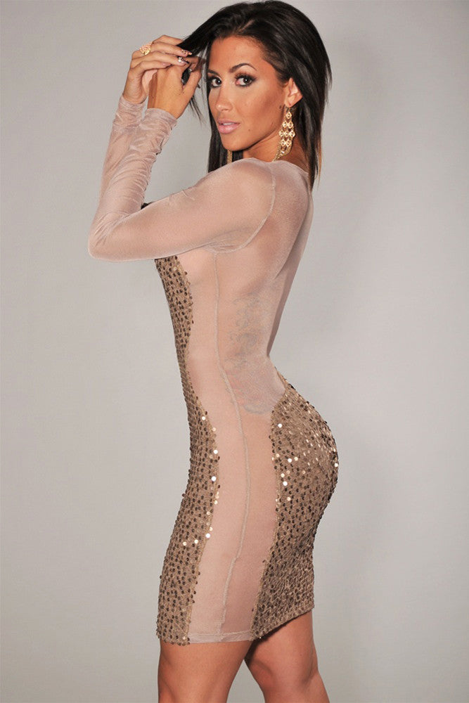 e003f3100ef Gold All-Over Sequined Sheer Long Sleeves Bodycon Club Dress – SEXY ...