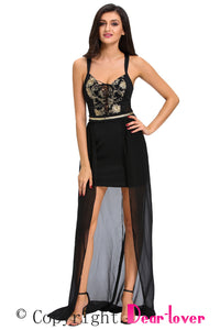 Gold Embroidery Long Tail Belted Little Black Party Dress