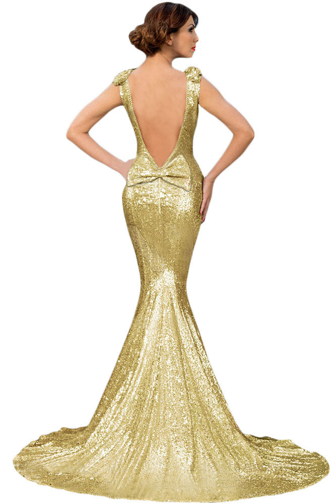 Gold Full Sequin Big Bow Accent Party Dress