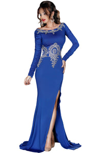 Gold Lace Applique Royal Blue Long Sleeve Prom Dress
