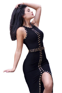 Gold Metal Embellished Detail Black Bandage Dress
