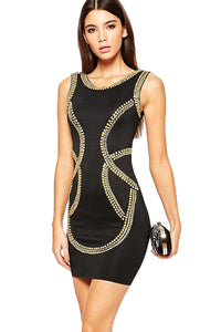 Gold Sequin Embellishment Bodycon Tank Dress