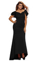 Gorgeous Ruffle Accent Hot Black Party Gown