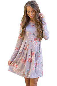 Gray Chic Long Sleeve Boho Floral Pattern Dress