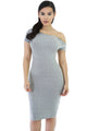 Gray Zipper Neckline Bodycon Midi Dress