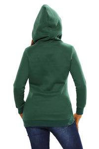 Green Button Zip Detail Warm Pocket Hoodie