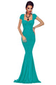 Green Crisscross Back Tie Maxi Party Dress