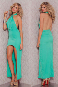 Green Halter Sexy Backless High Low Party Evening Dress