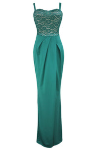 Green Lace Bustier Top Split Maxi Party Dress