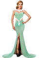 Green Lace Glamour Split Maxi Party Dress