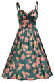 Green Pin-up Digital Floral Swing Vintage Dress