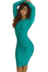 Green Scoop out Back Sexy Sleeved Bodycon Dress