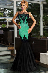 Green Sequin Applique Evening Party Mermaid Dress