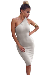 Grey One Shoulder Strappy Back Bodycon Party Dress