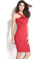 Halter Neck Red Midi Bodycon Evening Dress