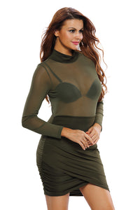 High Neck Long Sleeves Ruched Asymmetric Dress