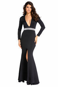 Hollywood Black Jeweled Waist Front Slit Gown