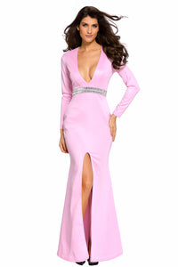 Hollywood Pink Jeweled Waist Front Slit Gown
