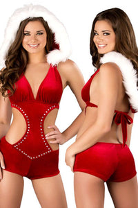 Hooded Rhinestone Sexy Christmas Romper Suit