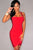 Hot Red Double Straps Arched Bandage Dress