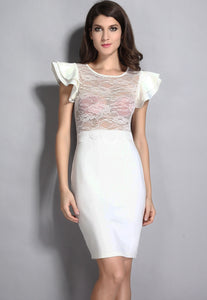 Ivory Sheer Lace Evening Dress