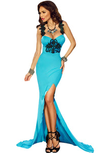 Lace Applique Detail Split Front Party Gown