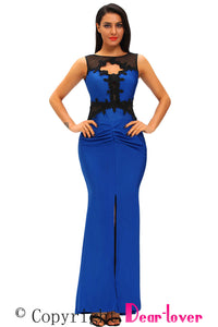 Lace Appliqued Mesh Cutout Metallic Blue Party Gown