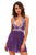 Lace Patchwork Purple Halter Sleepwear Babydoll Lingerie Set