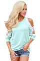 Lace Trim Cold Shoulder Mint Long Sleeve Top