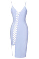 Light Blue Asymmetric Lace up Bandage Dress