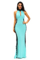 Light Blue Peekaboo Halterneck Lace Trim Party Gown