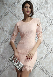 Light Peach Allover Lace Three Fourth Sleeves Dress