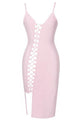 Light Pink Asymmetric Lace up Bandage Dress