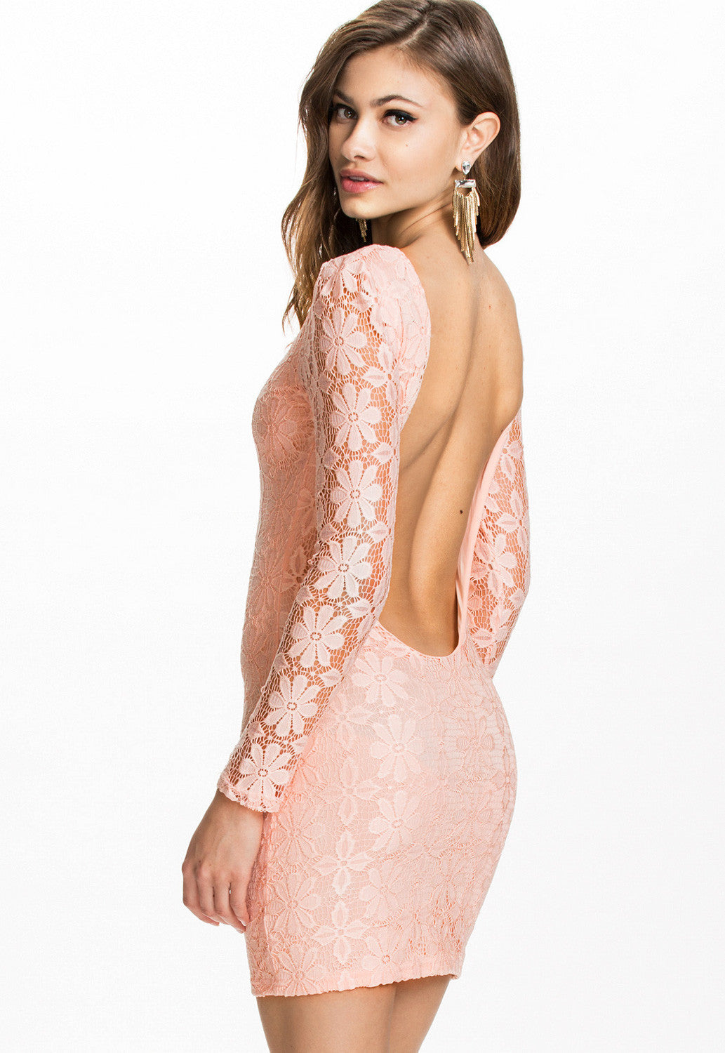Light Pink Backless Lace Club Dress