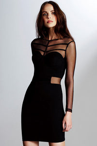 Little Black Mesh Caged Bodycon Dress